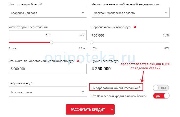 Онлайн калькулятор ипотеки на сайте Росбанка