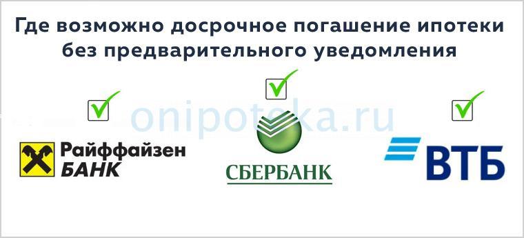 Банки, где возможно досрочное погашение ипотеки без предварительного уведомления