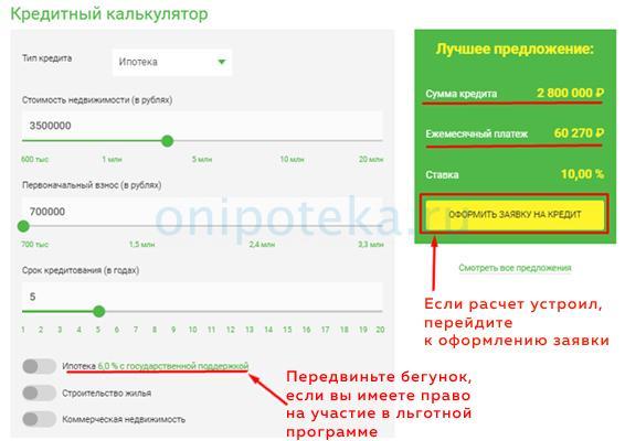 Онлайн калькулятор ипотеки Банка Центр Инвест
