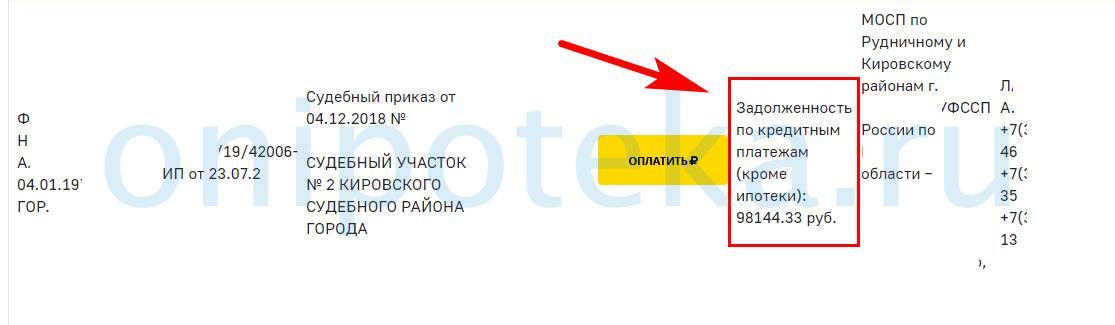 Сведения об открытых просрочках по кредиту на сайте судебных приставов
