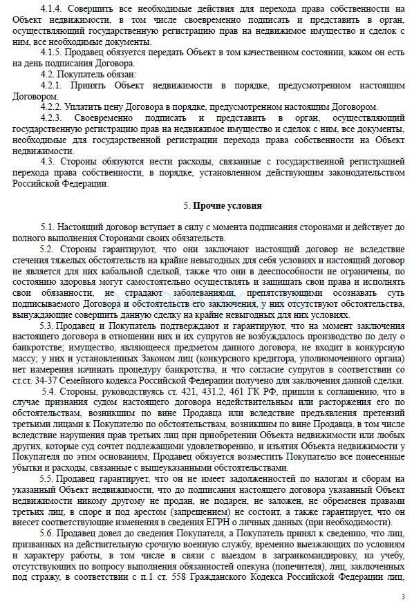 Образец договора купли - продажи квартиры с материнским капиталом без ипотеки - стр. 3