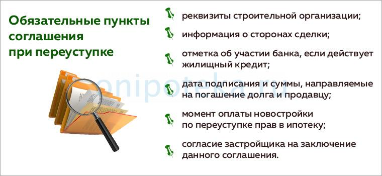 Обязательные пункты соглашения при переуступке прав в т.ч. при ипотеке