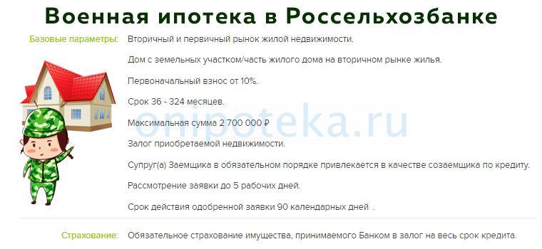 Условия военной ипотеки Россельхозбанка на официальном сайте