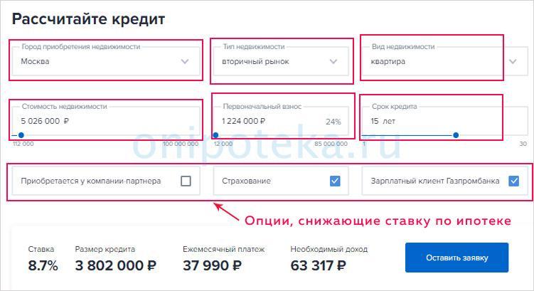 Калькулятор ипотеки Газпромбанка на вторичное жилье