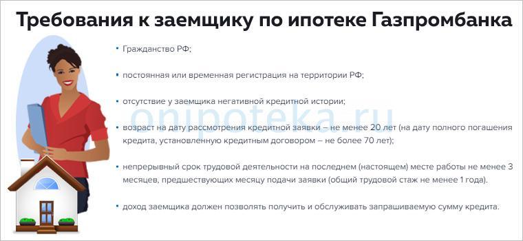 Требования к заемщику для оформления ипотеки на квартиру в Газпромбанке