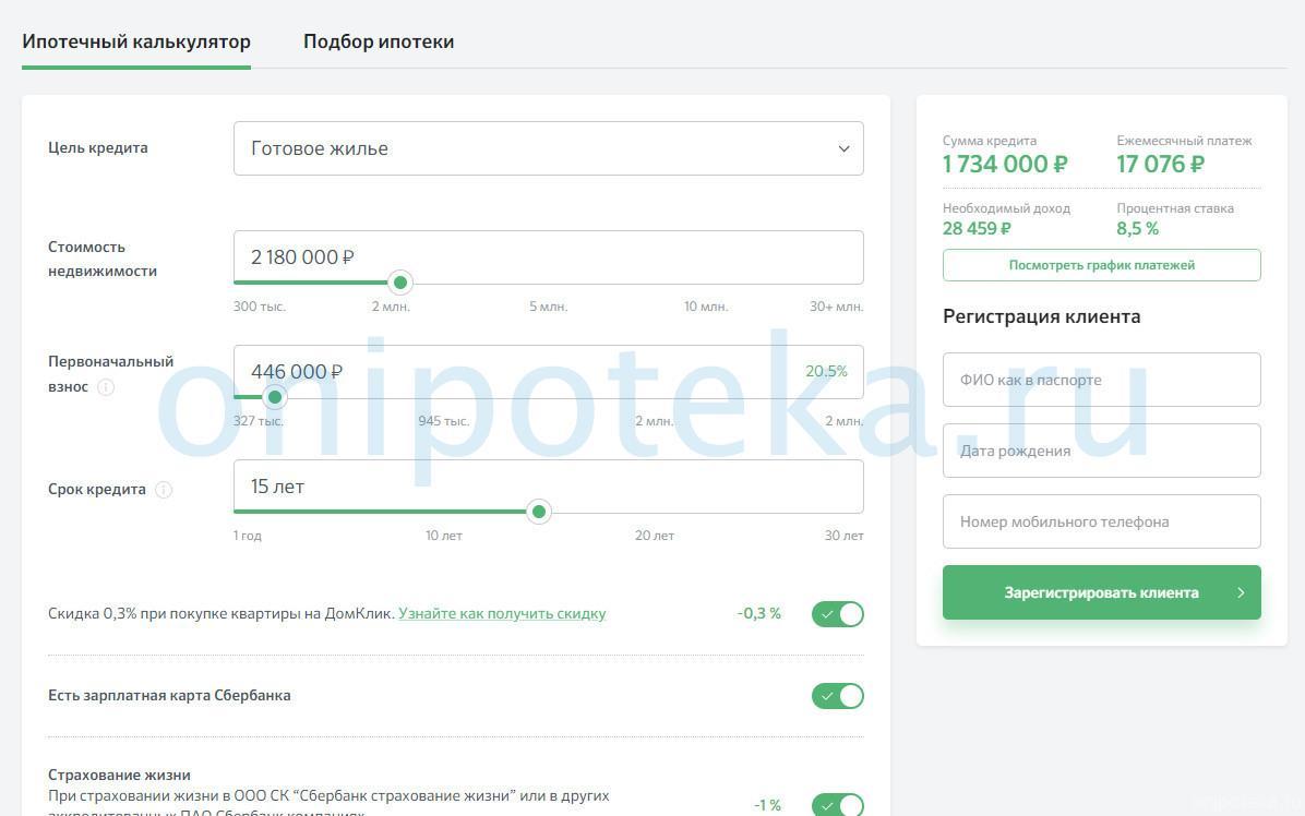 Расчет ипотеки с графиком платежей в Сбербанке